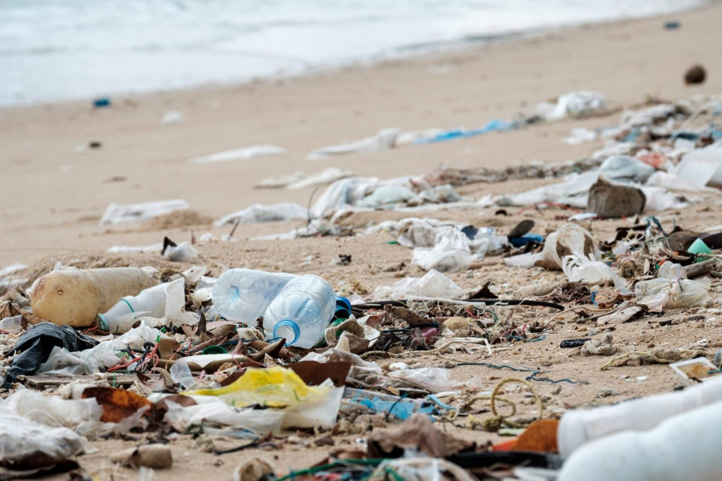 Beach pollution. Plastic bottles and other trash on the beach