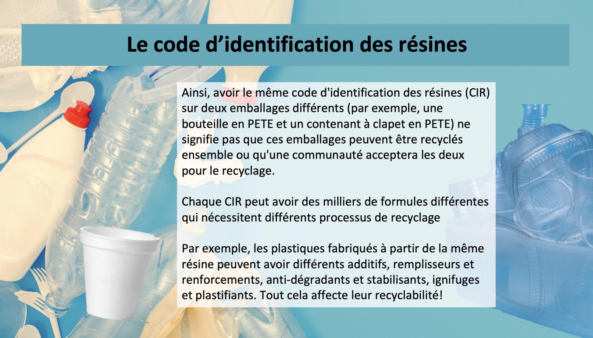 Le code d'identification des résines